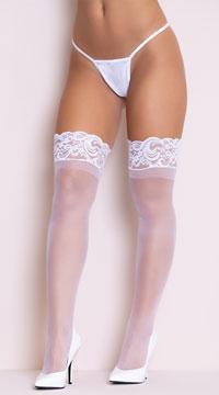 Lycra Never Slip Thigh High Stocking - White