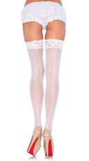 Lace Top Sheer Stockings with Backseam - White