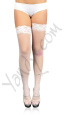 Plus Size Sheer Lace Top Stockings with Backseam - White