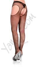 Plus Size Fishnet Suspender (Garter) Pantyhose - Black