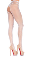 Fishnet Crotchless Pantyhose - White