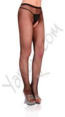 Plus Size Fishnet Crotchless Pantyhose - Black