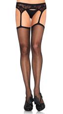 Lace Garter Belt Stockings - Black