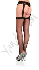 Plus Size Sheer Lace Top Stockings With Attached Lace Garter Belt - Black