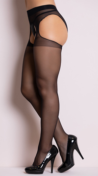 Sheer Suspender Style Pantyhose - Black