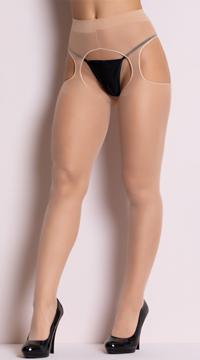 Sheer Suspender Style Pantyhose - Nude
