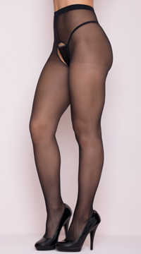 Crotchless Pantyhose Stockings - Black