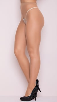 Crotchless Pantyhose Stockings - Beige