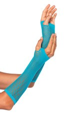 Fishnet Fingerless Gloves - Neon Blue