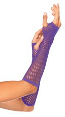 Fishnet Fingerless Gloves - Neon Purple