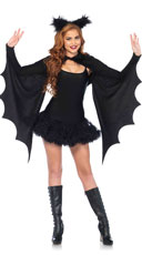 Cozy Bat Shrug Set - Black