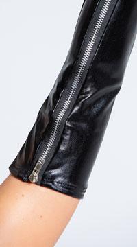 Wet Look Zipper Gloves - as shown