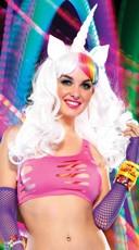 Unicorn Rainbow Wig - White