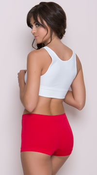 Seamless Lycra Hot Pants - Red