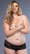 Plus Size Open Crotch Stretch Lace Thong - Black