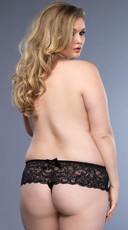Plus Size Open Crotch Stretch Lace Thong - Black
