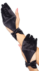 Satin Cut Out Glove With Bow Wrist - Black