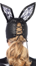 Faux Leather Bunny Mask - Black