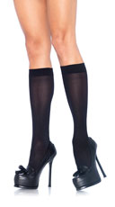 Nylon Opaque Knee Highs - Black