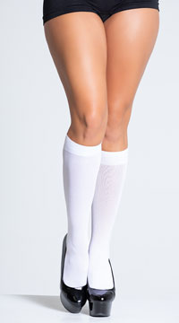 Nylon Opaque Knee Highs - as shown