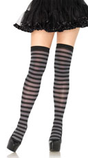 Nylon Zebra Striped Stockings - Black/Grey