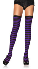 Nylon Zebra Striped Stockings - Black/Purple