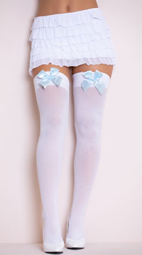 Opaque Thigh Highs with Satin Bow - White W/ Light Blue Bows