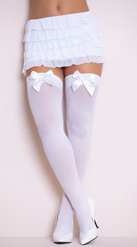 Opaque Thigh Highs with Satin Bow - White W/ White Bows