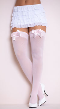 Opaque Thigh Highs with Satin Bow - Light Pink W/ Light Pink Bows