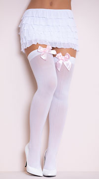 Opaque Thigh Highs with Satin Bow - White W/ Light Pink Bows