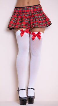 Opaque Thigh Highs with Satin Bow - White W/ Red Bows