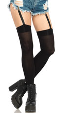 Opaque Thigh Highs with Garter Straps - Black