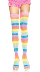 Neon Striped Thigh Highs - Rainbow