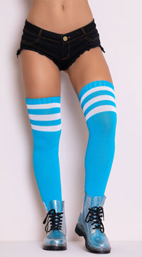 Athletic Ribbed Thigh Highs - Neon Blue
