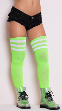 Athletic Ribbed Thigh Highs - Neon Green