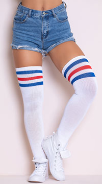 Athletic Ribbed Thigh Highs - Red/White/Blue