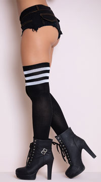 Athletic Ribbed Thigh Highs - Black/White