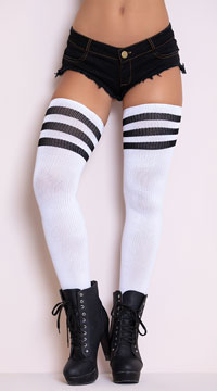 Athletic Ribbed Thigh Highs - White/Black