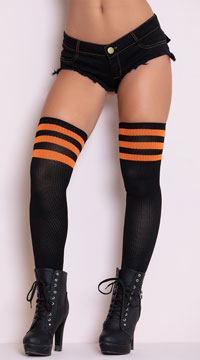 Athletic Ribbed Thigh Highs - Black/Orange