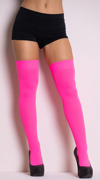 Opaque Nylon Thigh High Stockings - Neon Pink