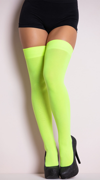 Opaque Nylon Thigh High Stockings - Neon Green