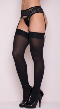 Opaque Nylon Thigh High Stockings - Black