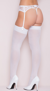 Opaque Nylon Thigh High Stockings - White