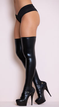 Wet Look Thigh Highs - Black