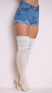 Cozy Patterned Thigh High Stockings - Ivory
