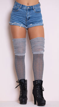 Cozy Patterned Thigh High Stockings - Grey