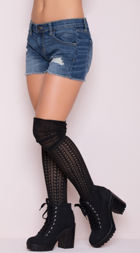 Cozy Patterned Thigh High Stockings - Black
