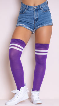 Ribbed Athletic Thigh High Stockings - Purple/White