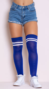 Ribbed Athletic Thigh High Stockings - Royal Blue/White