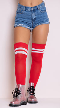 Ribbed Athletic Thigh High Stockings - Red/White